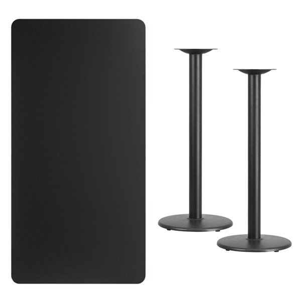 30x60 Black Laminate Table Top W/18 Inch Round Bar Height Table Base FLF-XU-BLKTB-3060-TR18B-GG
