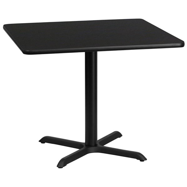 36 Inch Square Black Laminate Table Top w/30 x 30 Table Height Base FLF-XU-BLKTB-3636-T3030-GG