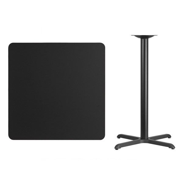 36 Inch Square Black Laminate Table Top W/30x30 Bar Height Table Base FLF-XU-BLKTB-3636-T3030B-GG