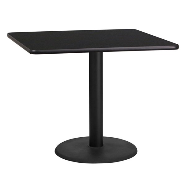 Flash Furniture 36 Inch Square Black Laminate Table Top with Table H Base FLF-XU-BLKTB-3636-TR24-GG