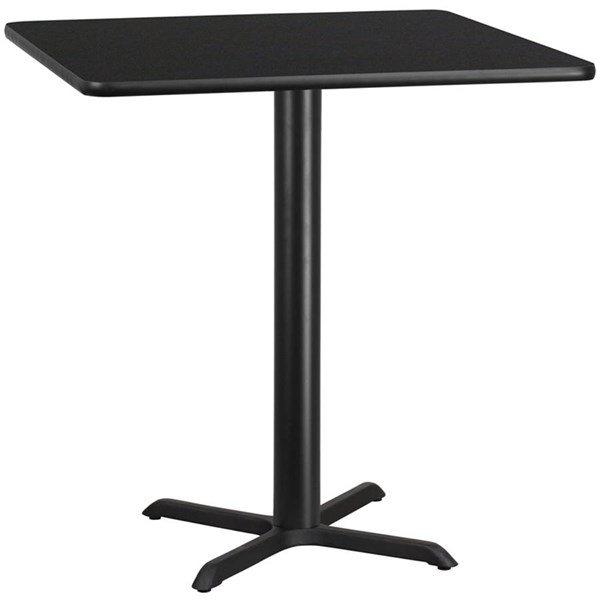 42 Inch Square Black Laminate Table Top W/33x33 Table Height Base FLF-XU-BLKTB-4242-T3333-GG