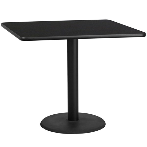 42 Inch Square Laminate Table Top With 24 Inch Round Table Height Base FLF-XU-4242-TR24-GG-DT-VAR
