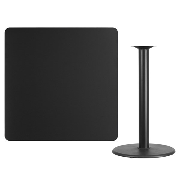 42 Inch Square Black Table Top /24 Inch Round Bar Height Table Base FLF-XU-BLKTB-4242-TR24B-GG