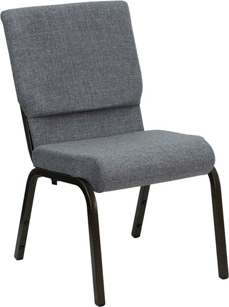 18.5 Inch W/Gray Fabric Stacking Church Chair W/4.25 Inch Thick Seat FLF-XU-CH-60096-BEIJING-GY-GG