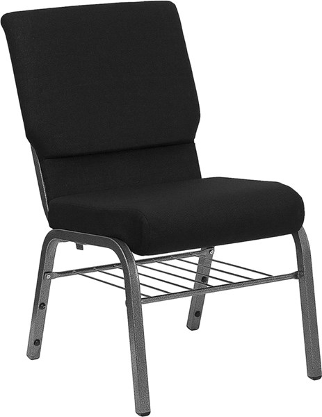 Flash Furniture Hercules 18.5 Inch Black Fabric Bookrack Church Chair FLF-XU-CH-60096-BK-SV-BAS-GG