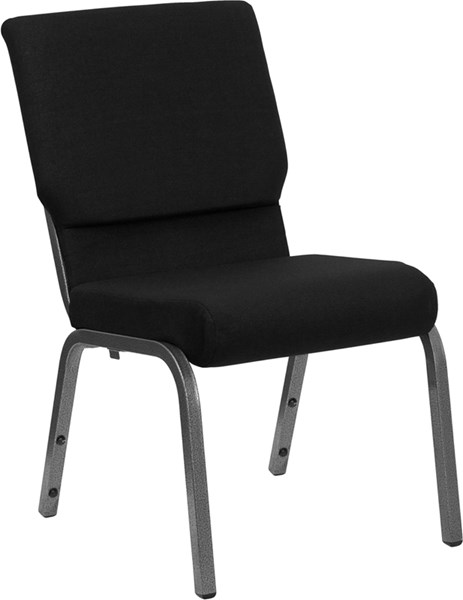 Flash Furniture Hercules 18.5 Inch Black Fabric Stacking Church Chair FLF-XU-CH-60096-BK-SV-GG