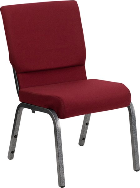 18.5 Inch Burgundy Fabric Stacking Church Chair W/4.25 Inch Thick Seat FLF-XU-CH-60096-BY-SILV-GG