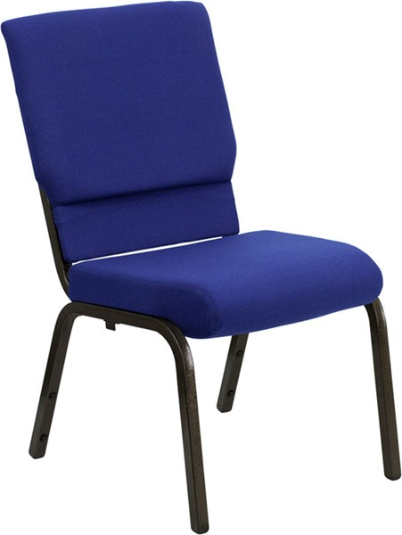 18.5 Inch Blue Fabric Stacking Church Chair W/4.25 Inch Thick Seat FLF-XU-CH-60096-NVY-GG