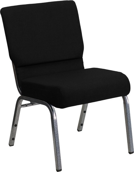 Flash Furniture Hercules 21 Inch Extra Wide Black Fabric Stacking Church Chair FLF-XU-CH0221-BK-SV-GG
