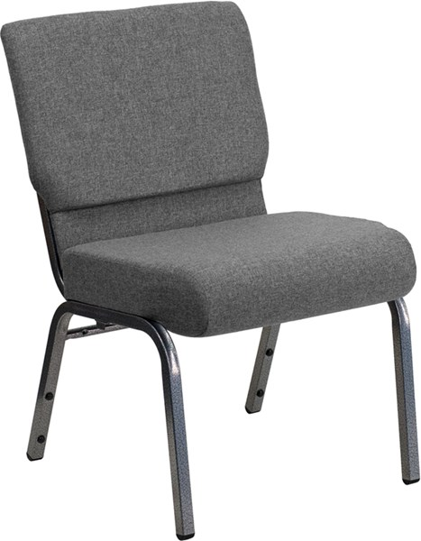Flash Furniture Hercules 21 Inch Extra Wide Gray Fabric Stacking Church Chair FLF-XU-CH0221-GY-SV-GG