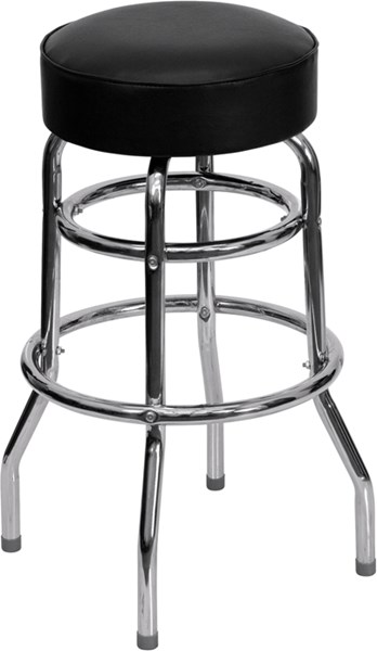 Double Ring Chrome Barstool with Black Seat FLF-XU-D-100-GG