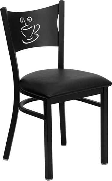 Black Coffee Back Metal Restaurant Chairs - Seat FLF-XU-DG-60099-COF-GG-VAR