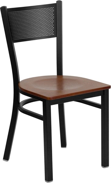 Hercules Series Grid Metal Restaurant Chair w/Wood Seat FLF-XU-DG-60115-GRD-W-GG-VAR