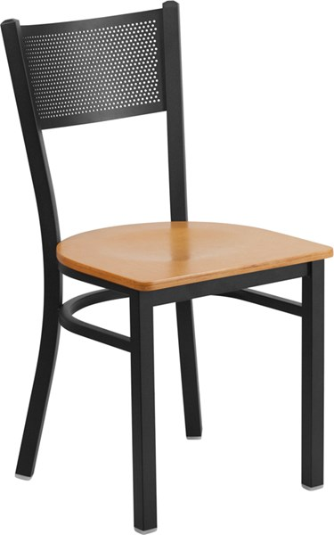 Hercules Series Black Grid Metal Restaurant Chair w/Natural Wood Seat FLF-XU-DG-60115-GRD-NATW-GG