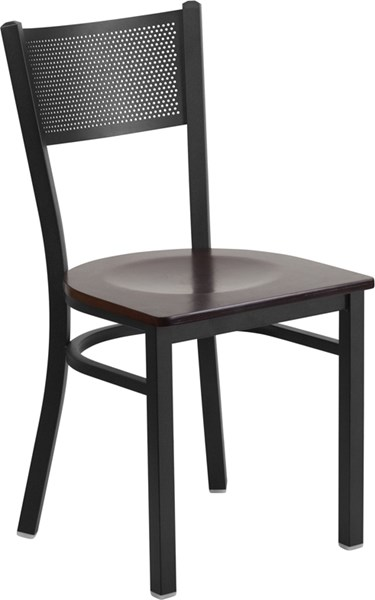 Hercules Series Black Grid Metal Restaurant Chair w/Walnut Wood Seat FLF-XU-DG-60115-GRD-WALW-GG
