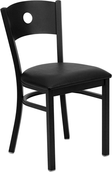 Black Circle Back Metal Restaurant Chair - Black Vinyl Seat FLF-XU-DG-60119-CIR-BLKV-GG