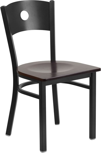 Hercules Series Black Circle Back Metal Walnut Wood Restaurant Chair FLF-XU-DG-60119-CIR-WALW-GG