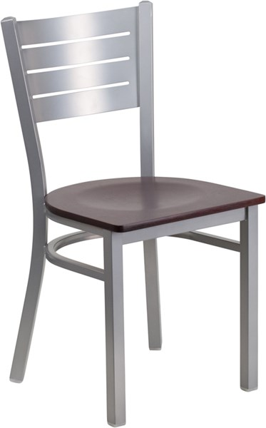 Hercules Series Silver Slat Back Metal Mahogany Wood Restaurant Chair FLF-XU-DG-60401-MAHW-GG