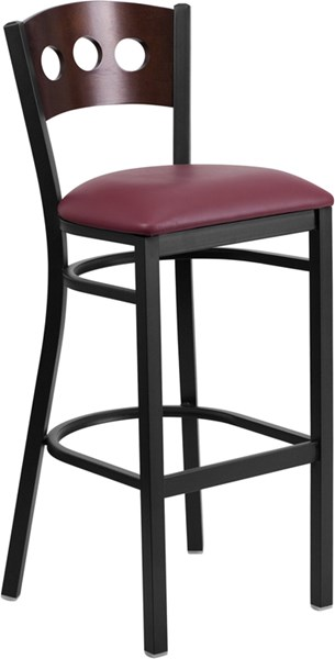 Hercules Series Walnut Wood Back Burgundy Vinyl Restaurant Barstool FLF-XU-DG-60516-WAL-BAR-BURV-GG