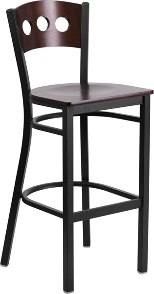 Hercules Series Walnut Wood Back & Seat Restaurant Barstool FLF-XU-DG-60516-WAL-BAR-MTL-GG