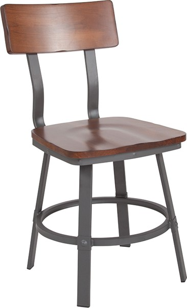 Flash Furniture Flint Walnut Gray Metal Chair FLF-XU-DG-60582-GG