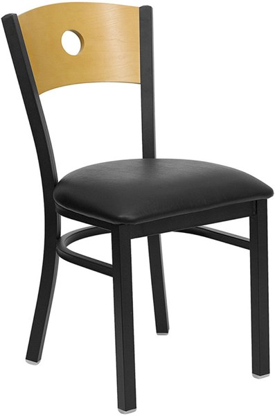 Hercules Black Metal Vinyl Wood Circle Back Metal Restaurant Chair FLF-XU-DG-6F2B-CIR-BLKV-GG