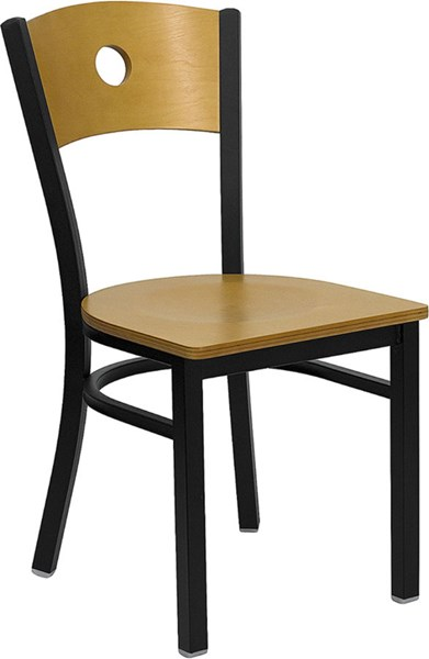 Black Circle Back Metal Restaurant Chair - Natural Wood Back & Seat FLF-XU-DG-6F2B-CIR-NATW-GG