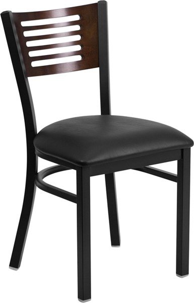 Hercules Black Walnut Metal Vinyl Wood Slat Back Restaurant Chair FLF-XU-DG-6G5B-WAL-BLKV-GG