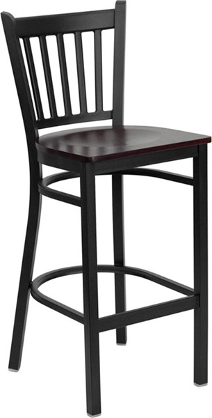 Hercules Black Mahogany Metal Wood Vertical Back Bar Stool FLF-XU-DG-6R6B-VRT-BAR-MAHW-GG