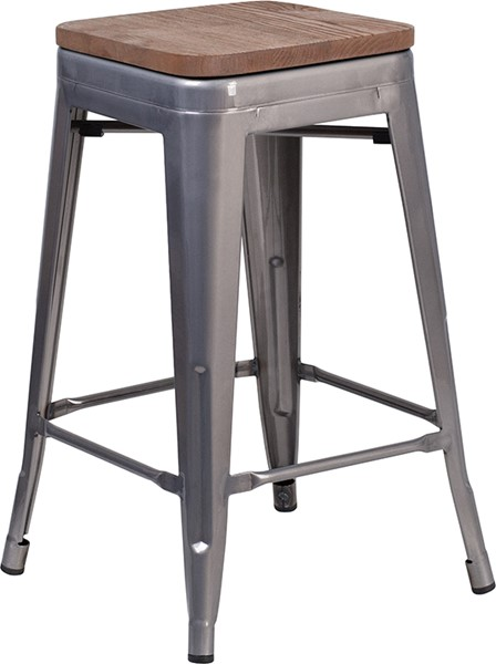 Flash Furniture Clear Coated 24 Inch Backless Metal Stool FLF-XU-DG-TP0004-24-WD-GG