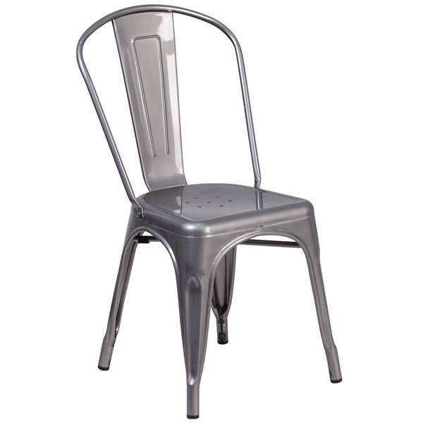 Flash Furniture Clear Coated Gray Metal Indoor Stackable Chair FLF-XU-DG-TP001-GG