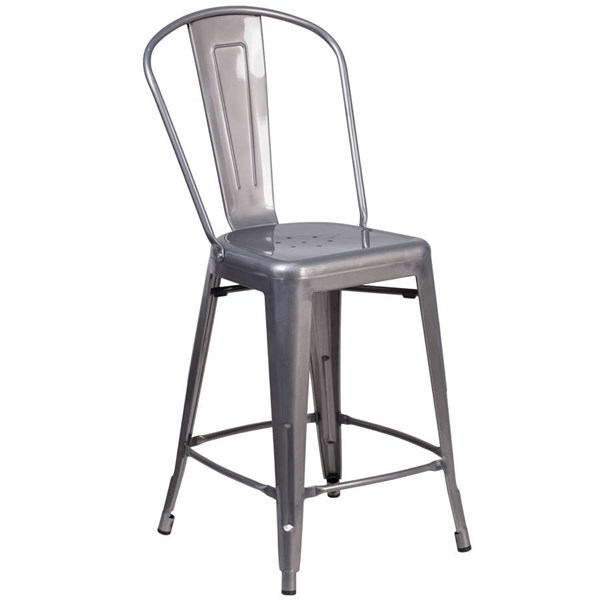 Flash Furniture 24 Inch Clear Coated Gray Indoor Counter Height Stool FLF-XU-DG-TP001B-24-GG