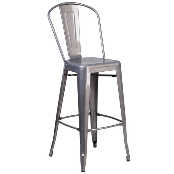 Flash Furniture 30 Inch Clear Coated Gray Indoor Counter Height Stool FLF-XU-DG-TP001B-30-GG