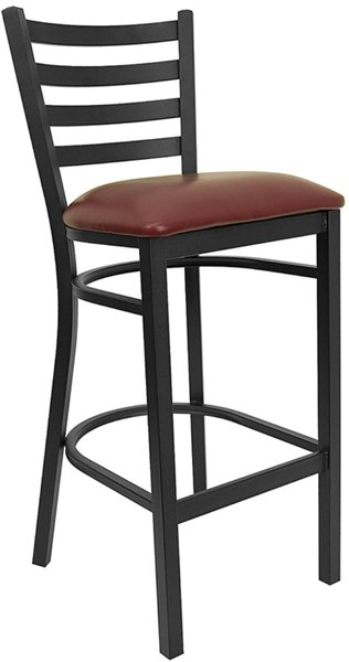 Black Burgundy Fabric Metal Vinyl Ladder Back Restaurant Bar Stool FLF-XU-DG697BLAD-BAR-BURV-GG