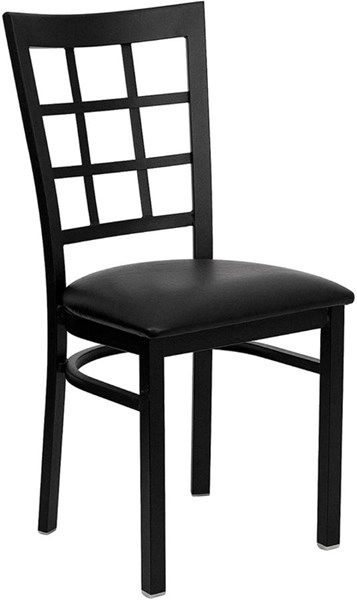 Window Back Metal Restaurant Chairs - Vinyl Seat FLF-XU-DG6Q3BWIN-GG-VAR