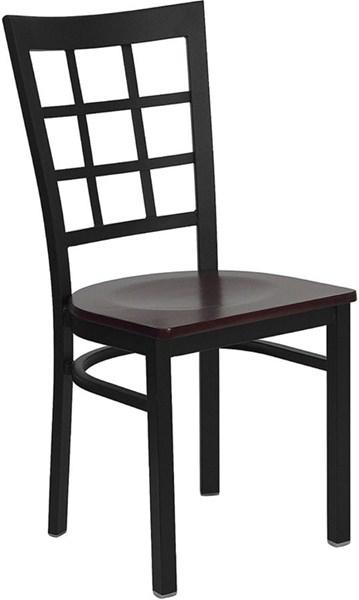 Hercules Black Mahogany Metal Wood Window Back Restaurant Chair FLF-XU-DG6Q3BWIN-MAHW-GG