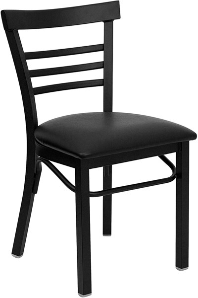Ladder Back Metal Restaurant Chairs - Vinyl Seat FLF-XU-DG6Q6B1LAD-GG-VAR