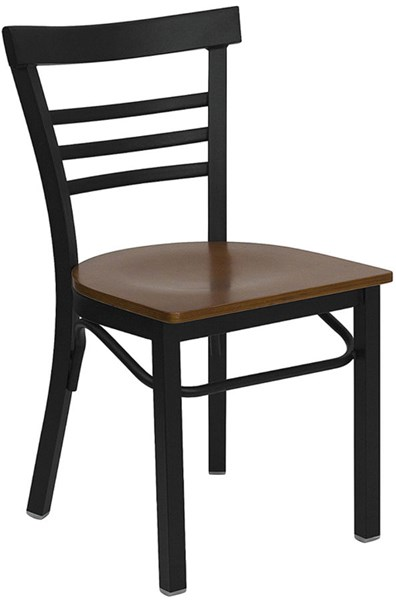 Hercules Black Cherry Metal Wood Ladder Back Restaurant Chair FLF-XU-DG6Q6B1LAD-CHYW-GG