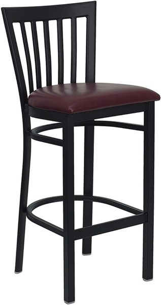 Black School House Back Metal Restaurant Bar Stool FLF-XU-DG6R8BSCH-BAR-BURV-GG