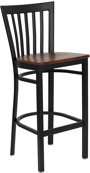 Hercules Black Cherry Metal Wood Restaurant Bar Stool FLF-XU-DG6R8BSCH-BAR-CHYW-GG