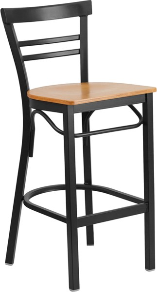 Hercules Series Ladder Back Natural Wood Seat Metal Restaurant Stool FLF-XU-DG6R9BLAD-BAR-NATW-GG