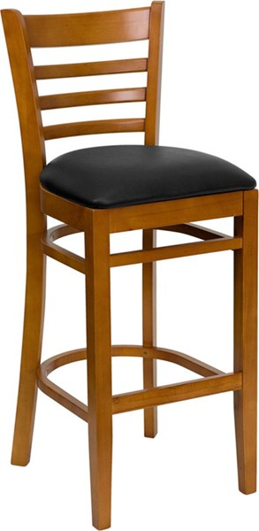 Hercules Series Burgundy Cherry Foam Vinyl Wood Ladder Back Bar Stools FLF-XU-DGW0005BARLAD-CHY-GG-VAR