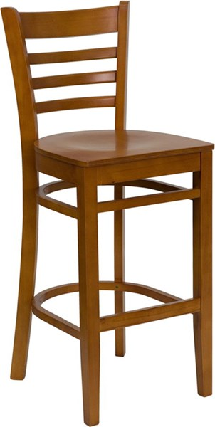 Hercules Casual Cherry Wood Ladder Back Restaurant Bar Stool FLF-XU-DGW0005BARLAD-CHY-GG