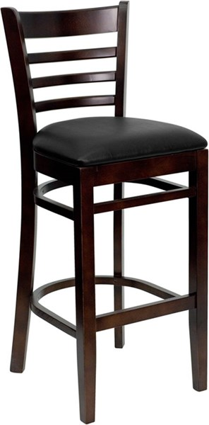Hercules Black Walnut Fabric Vinyl Wood Restaurant Bar Stool FLF-XU-DGW0005BARLAD-WAL-BLKV-GG