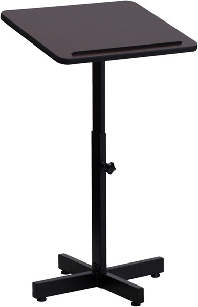 Flash Furniture Mahogany Laminate Steel Adjustable Height Metal Lectern FLF-XU-LECTERN-ADJ-GG