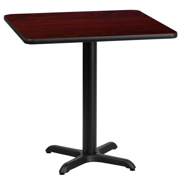 Flash Furniture 24 Inch Square Mahogany Laminate Table Top with 22X22 Table Height Base FLF-XU-MAHTB-2424-T2222-GG