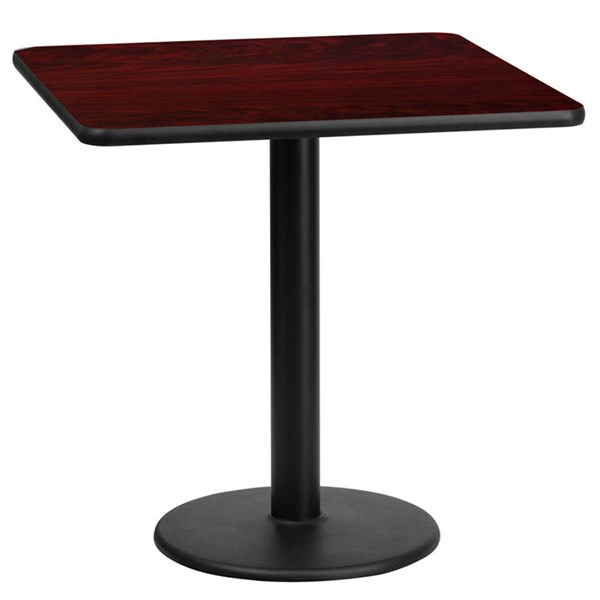 24 Inch Square Mahogany Table Top W/18 Inch Round Table Height Base FLF-XU-MAHTB-2424-TR18-GG