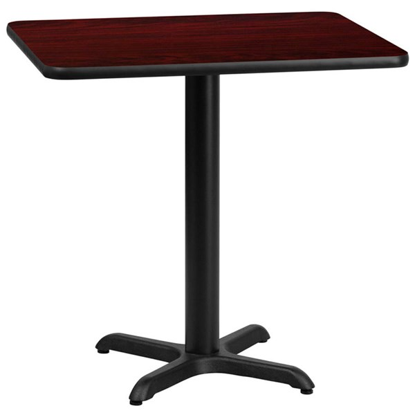 Flash Furniture 24 X 30 Mahogany Laminate Table Top with 22X22 Table Height Base FLF-XU-MAHTB-2430-T2222-GG