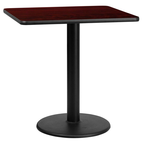 Flash Furniture 30 Inch Mahogany Laminate Table Top with Table Height Base FLF-XU-MAHTB-3030-TR18-GG
