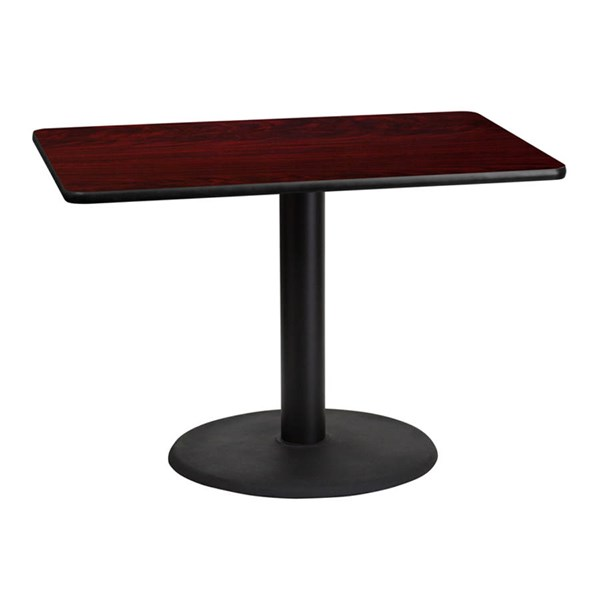Flash Furniture 30X42 Mahogany Laminate Table Top with 24 Inch Round Table Base FLF-XU-MAHTB-3042-TR24-GG